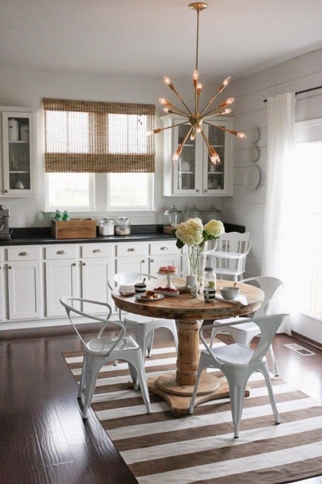 Si vous souhaitez diversifier votre cuisine et lui donner un aspect moderne, un lustre compagnon serait une excellente solution, qui est toujours populaire aujourd'hui.