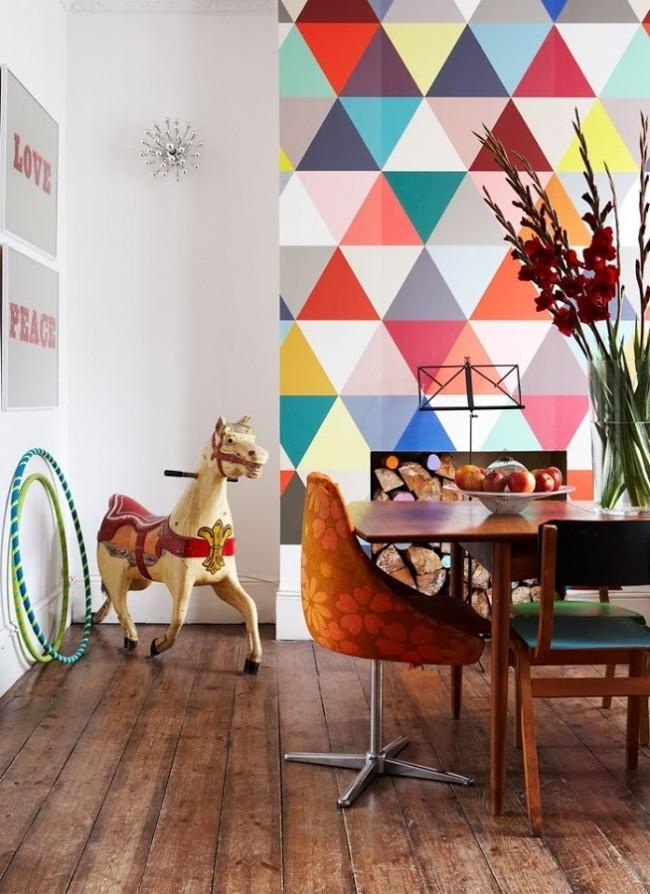Insertion de papier peint lumineux dans un appartement d'une pièce