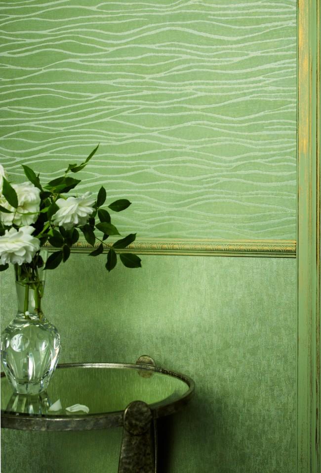 Papier peint intissé vert: une combinaison réussie à l'horizontale (garniture murale)