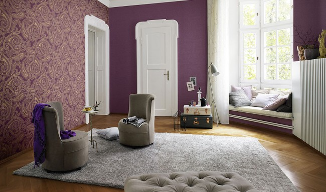 Ambiance mystérieuse: violet et motif en sourdine