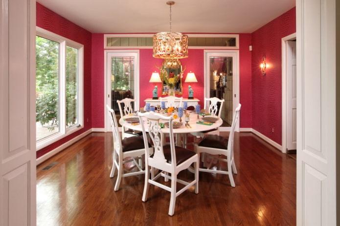 Papier peint textile rose