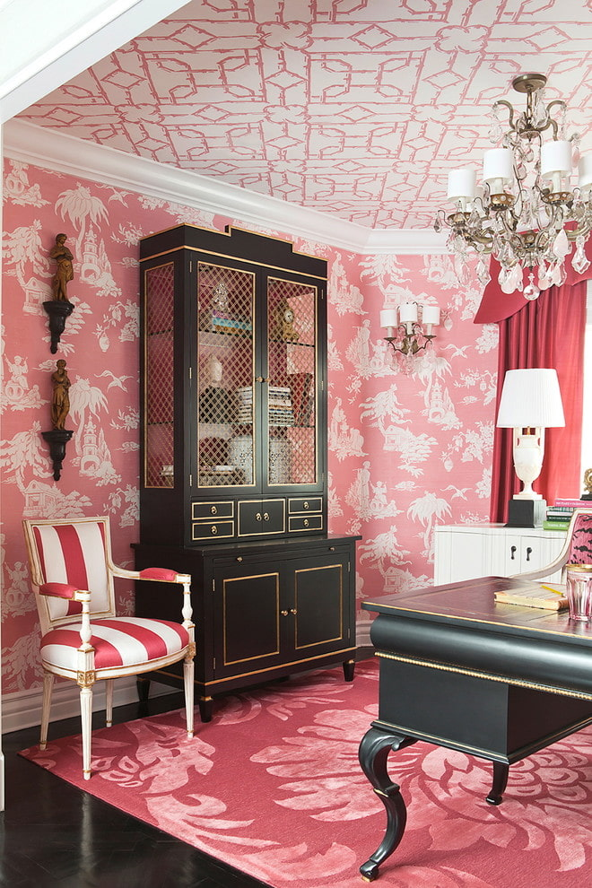 papier peint blanc-rose