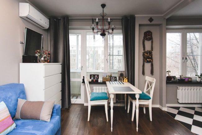 Studio avec intérieur moderne