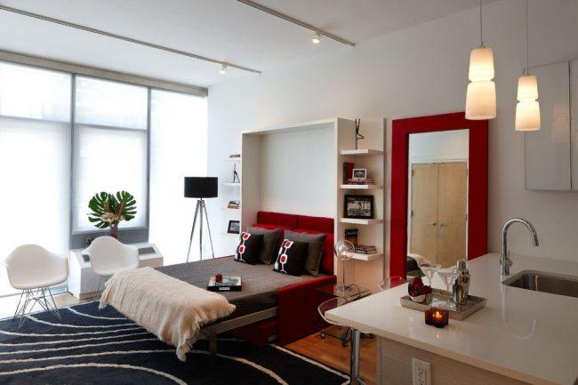 Projet de conception d'un appartement d'une pièce avec un lit transformable