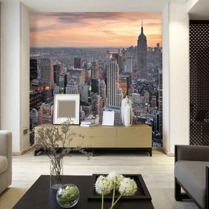 papier peint avec l'image de la ville
