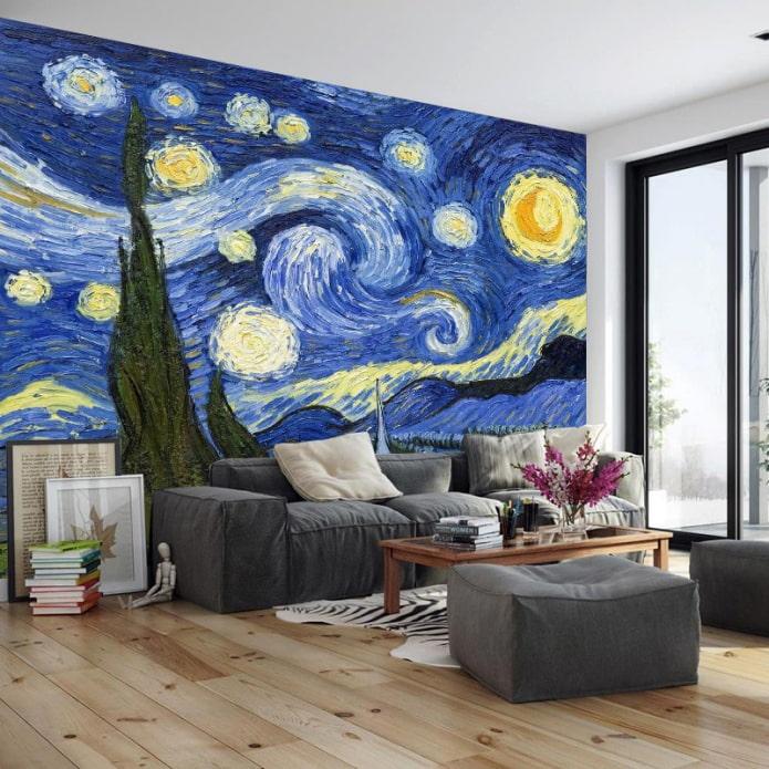 photomurals avec des peintures d'artistes à l'intérieur