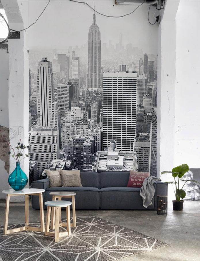 papier peint photo combiné avec des murs blanchis à la chaux