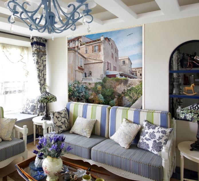 Papier peint photo dans le salon dans le style provençal
