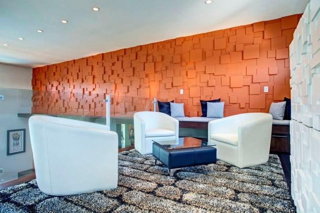 Panneaux muraux 3D lumineux à l'intérieur d'un salon moderne