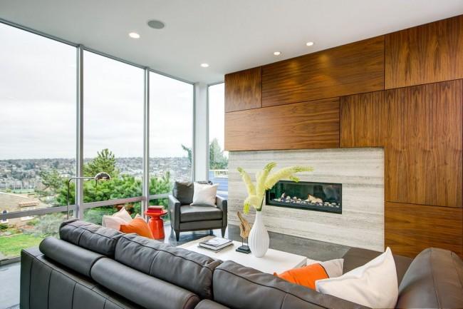 Salon dans un style moderne avec des panneaux muraux