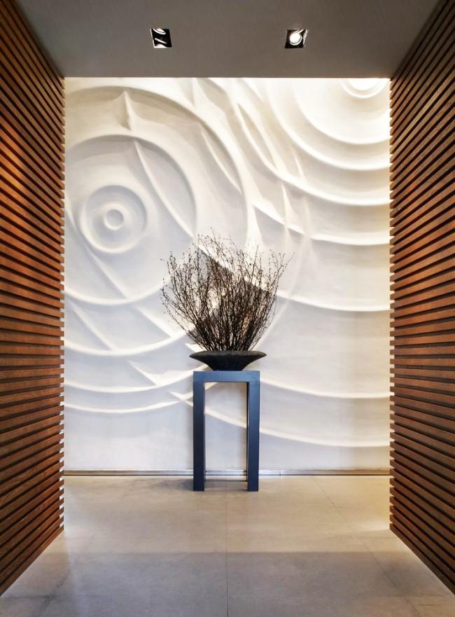 Panneau mural 3D dans un intérieur moderne
