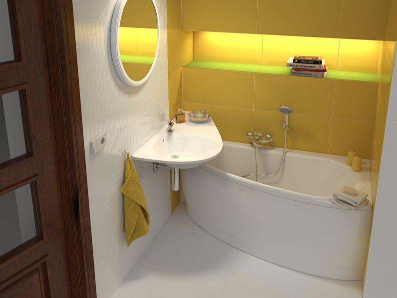 Petite salle de bain avec baignoire d'angle