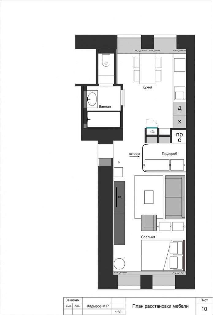 Disposition d'un gilet-appartement d'une pièce