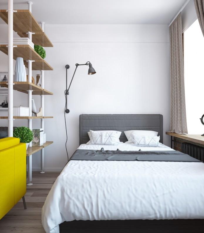Conception de chambre à coucher dans un appartement à une pièce