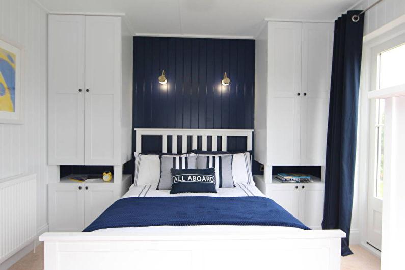 Conception d'une petite chambre dans les tons bleus - photo