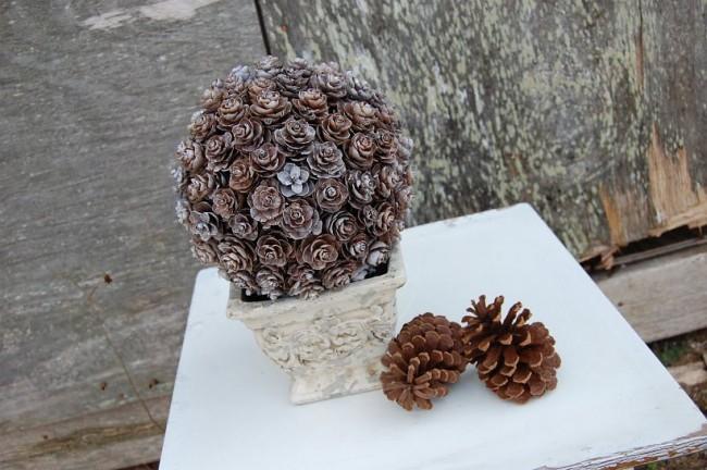 Comment créer un topiaire domestique.  Décoration hivernale élégante: topiaire de pommes de pin