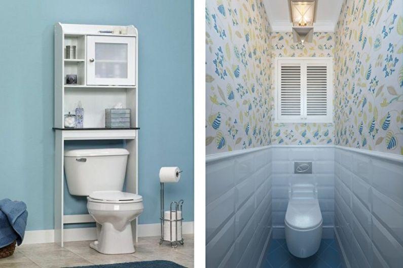 Petite toilette bleue - Design d'intérieur