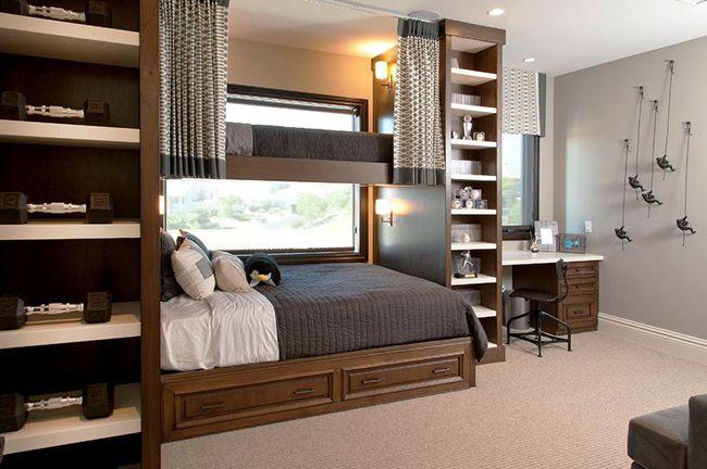 Pour que l'ambiance de la chambre d'enfant soit disposée à étudier ou à se reposer, à donner du calme et une sensation de sérénité, vous pouvez diluer l'intérieur avec des meubles à la texture bois