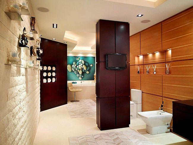 Pour que la salle de bain ne semble pas plus petite, vous ne pouvez utiliser que certains détails de couleur wengé, par exemple des tables de chevet, des armoires, des étuis à crayons