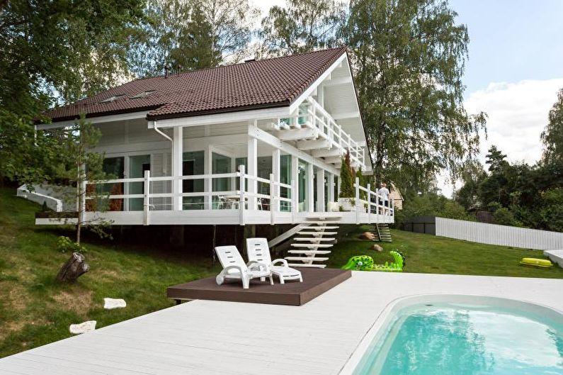 Maison de campagne blanche de style scandinave - photo