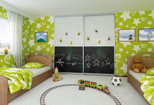 Conception originale de meubles encastrés dans une chambre pour deux enfants