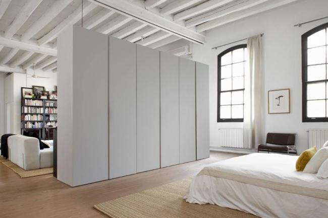 Zonage d'un studio avec mobilier