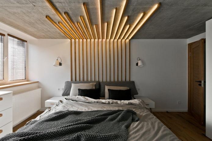 finition du plafond de la chambre dans un style industriel