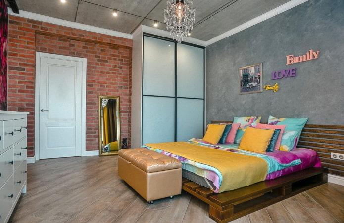 meubles à l'intérieur de la chambre dans un style industriel