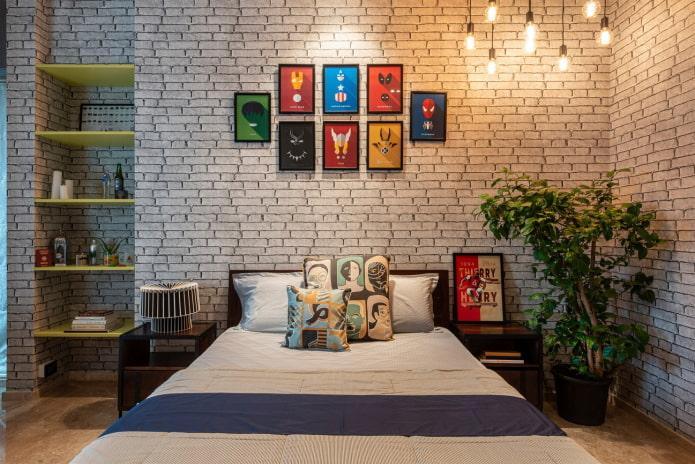 décoration murale dans la chambre dans un style industriel