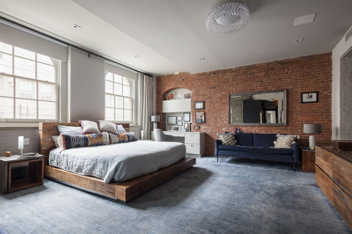 finition du sol de la chambre dans un style industriel