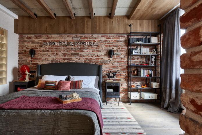 textiles et décoration à l'intérieur de la chambre dans un style industriel