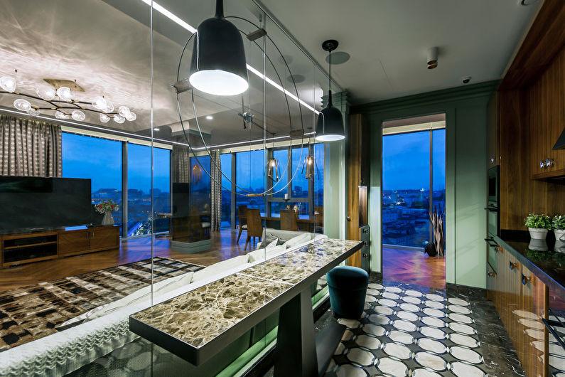 Cuisine moderne avec îlot - Design d'intérieur