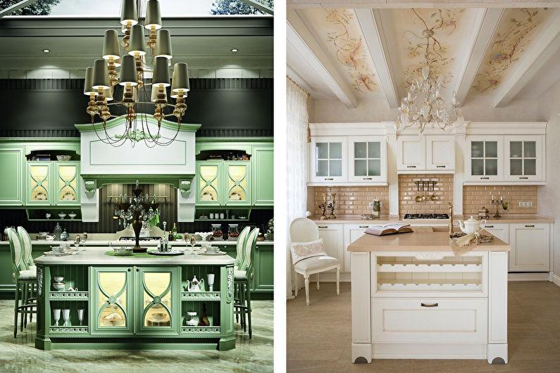 Cuisine de style classique avec îlot - Design d'intérieur