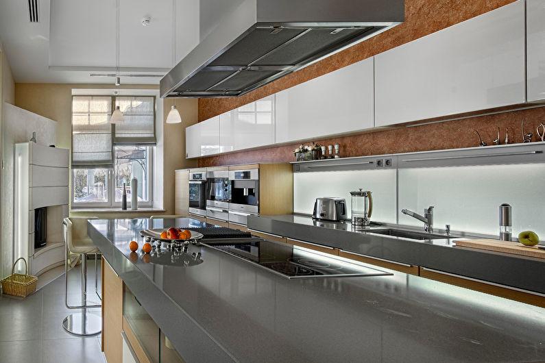 Variétés d'aménagement de cuisine avec un îlot