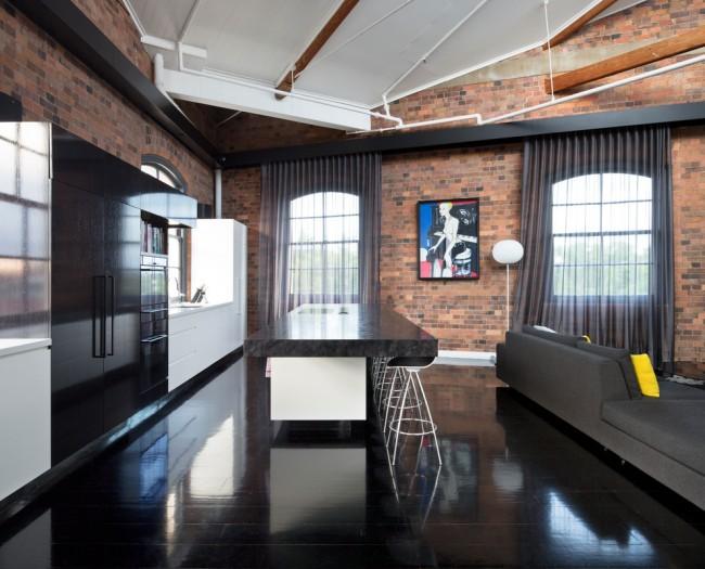Rideaux sombres pour la cuisine de style loft