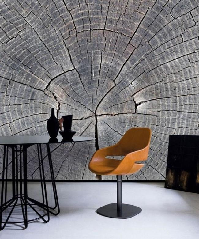 Le papier peint 3D avec la texture du bois est très impressionnant