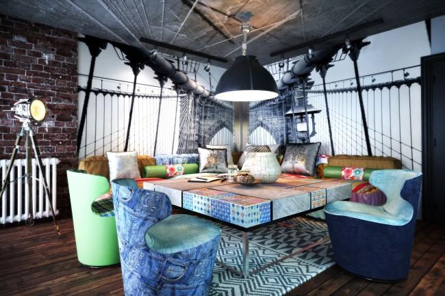 Pont 3D dans un salon de style loft