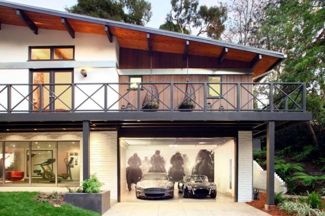 Image 3D dans la conception d'un garage de maison de campagne