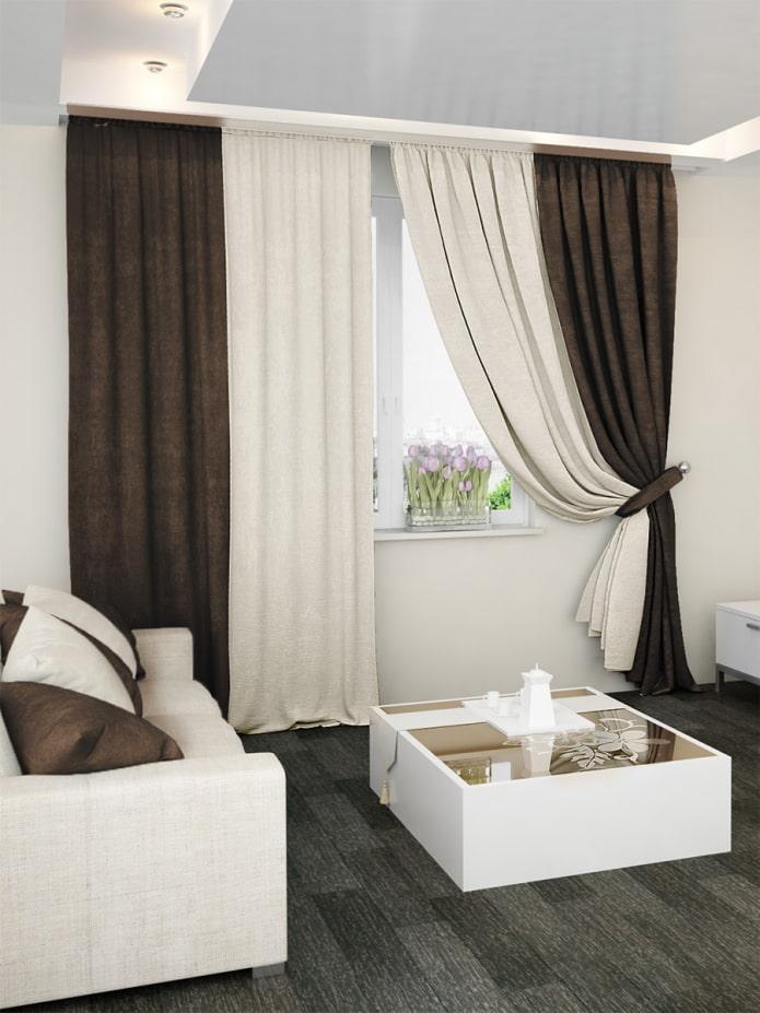 rideaux marron avec du blanc