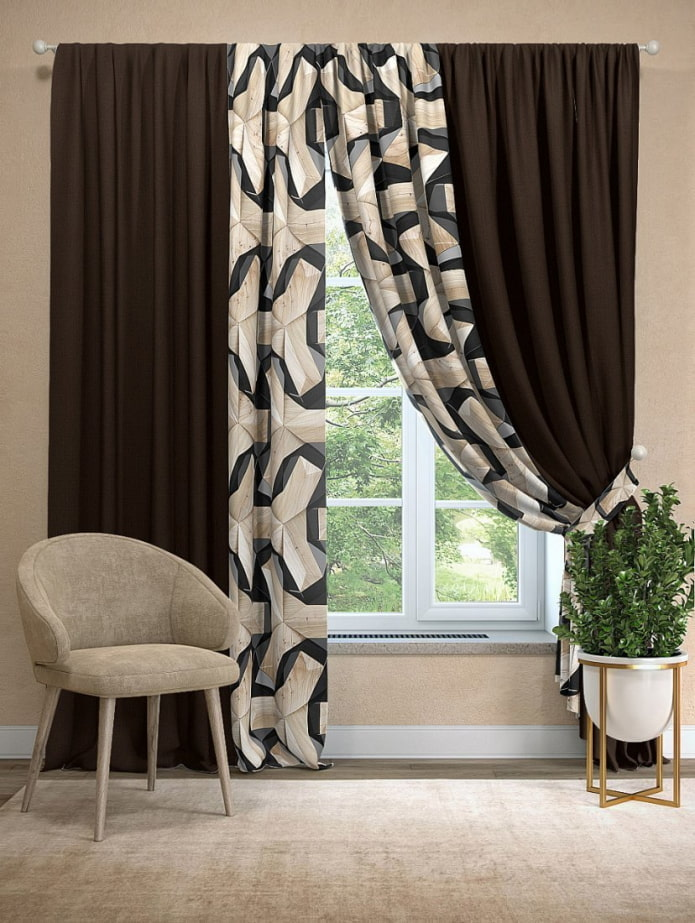 combinaison de deux types de rideaux