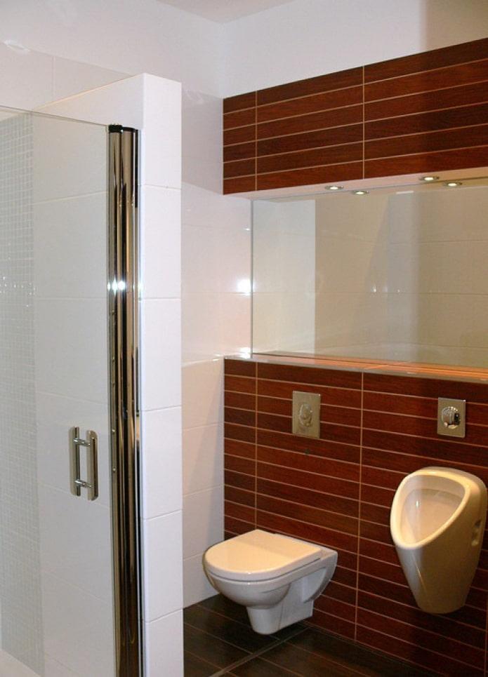 carrelage wengé dans les toilettes