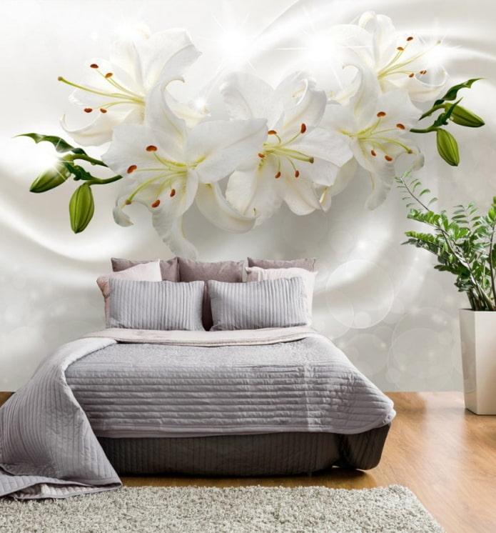 Fond d'écran 3D avec des fleurs à l'intérieur de la chambre