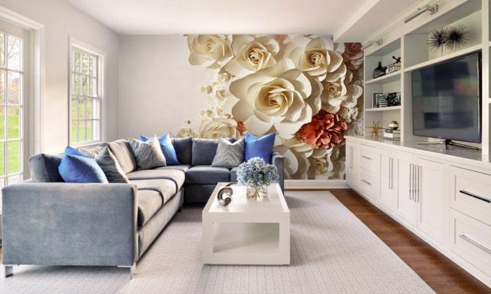 Fond d'écran 3D avec des fleurs à l'intérieur du salon