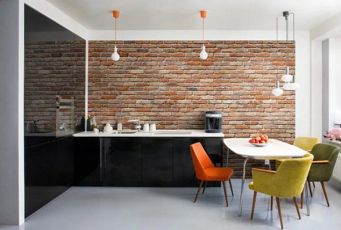 Papier peint 3d pour la brique à l'intérieur de la cuisine