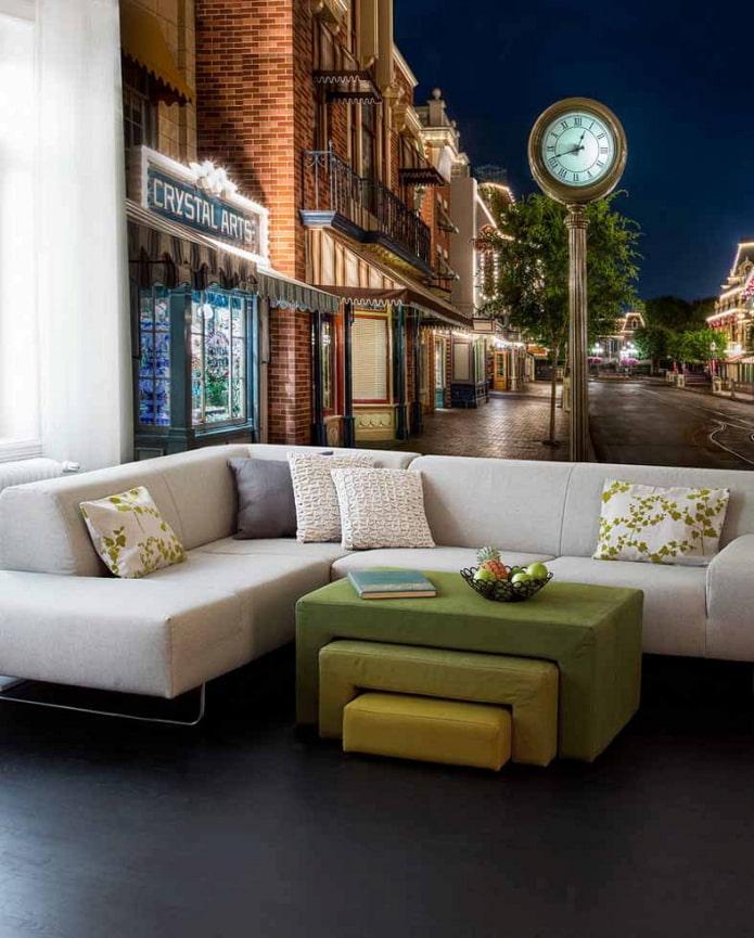 Fond d'écran 3D représentant la ville dans le salon
