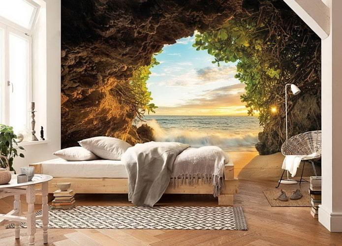 Fond d'écran 3D représentant la nature dans la chambre