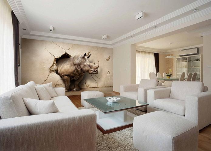 Papier peint 3D avec un rhinocéros à l'intérieur du salon