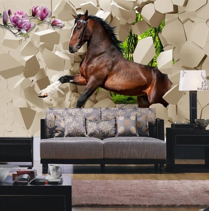 Fond d'écran 3D avec un cheval à l'intérieur du salon