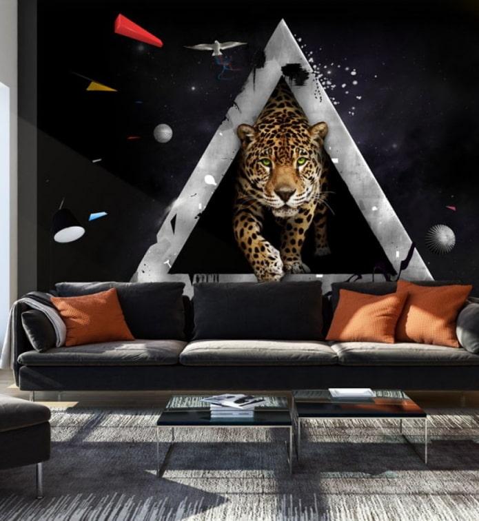 Papier peint photo 3D avec un guépard à l'intérieur du salon