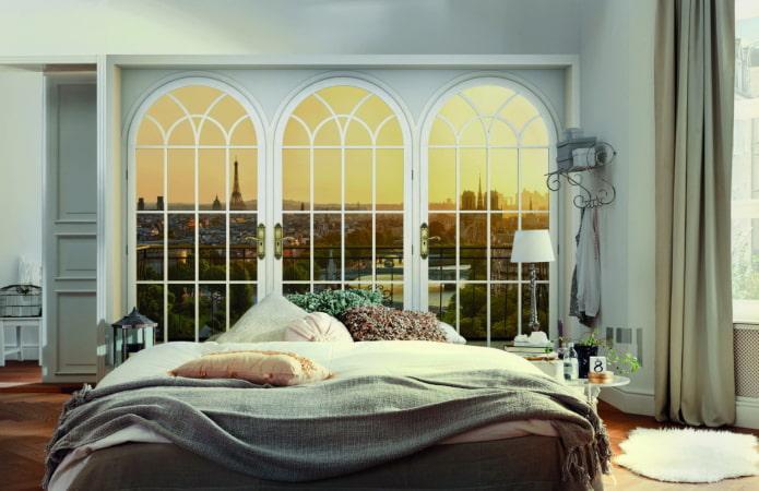 Papier peint 3D avec vue depuis la fenêtre de la chambre